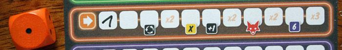 Der orangene Aktionsbereich und seine 11 Felder.