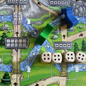 2. Blau rückt vor und schubst grün in den Flusslauf.
