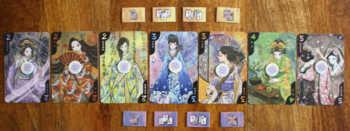 Spielaufbau von Hanamikoji.