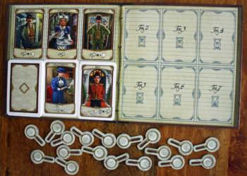 Der Spielplan und die Personenkarten.