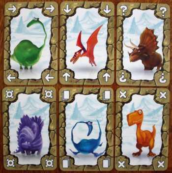 Sechs unterschiedliche Saurier und Aktionen.