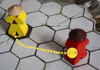Fernkampf: Gelb verliert pro Feld ein Energie, Rot verliert 4 Energie und wehrt ab.
