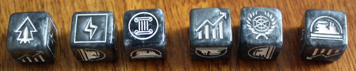 Die sechs Würfelsymbole des Spiels.